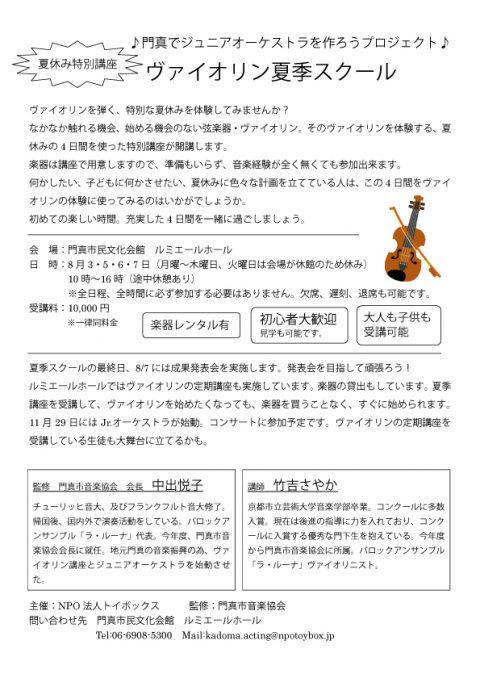 カルチャースクール ヴァイオリン夏季スクール2015